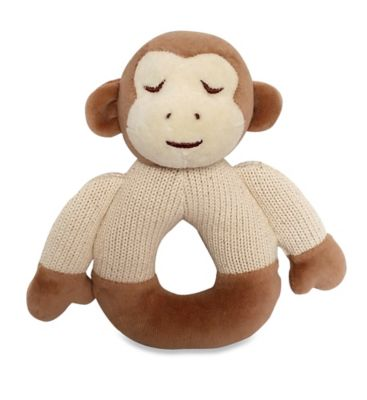 Cotton Knit Monkey Teether in Brown