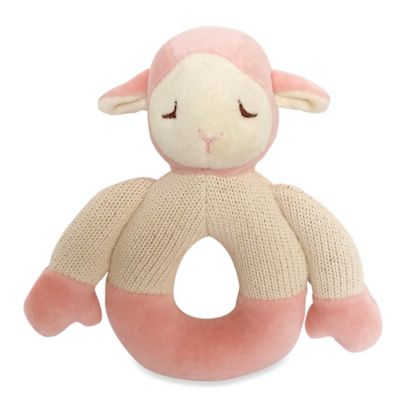 Cotton Knit Lamb Teether in Pink