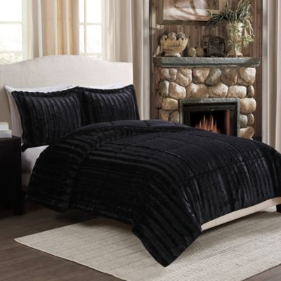Sable Fancy Fur Reversible Full/Queen Comforter Set in Black