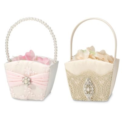 Lillian Rose™ Lace and Satin Flower Basket in Gold