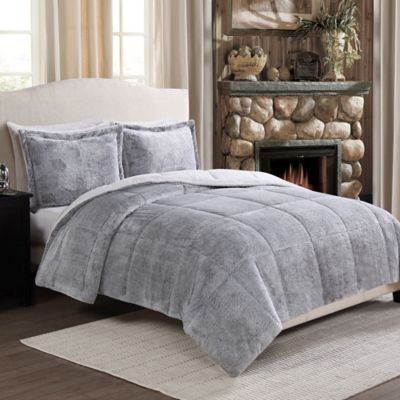 Frosted Fur Reversible King Comforter Set in Grey