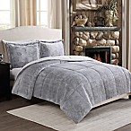 Frosted Fur Reversible Full/Queen Comforter Set in Grey