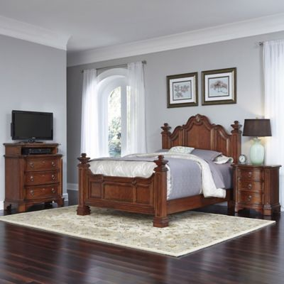 Home Styles Santiago 3-Piece Queen Bed, Nightstand, and Media Chest Set in Cognac