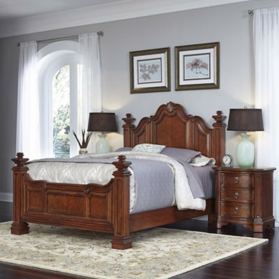 Home Styles Santiago Wood 3-Piece Queen Bed and Night Stand Set in Cognac in Cognac