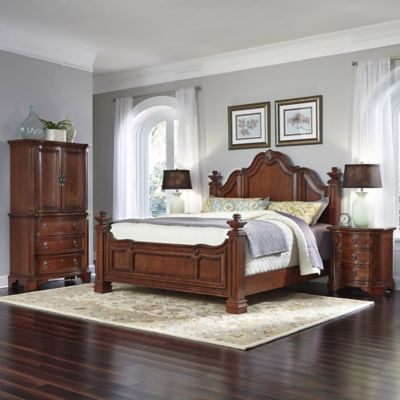 Home Styles Santiago Wood 4-Piece King Bed, Nightstands, and Door Chest Set in Cognac