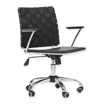Baxton Studio Vittoria Leather Modern Office Chair in Black