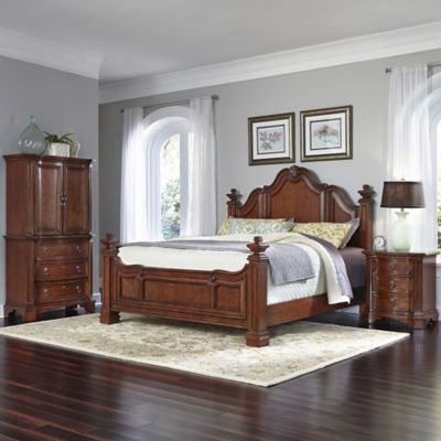 Home Styles Santiago 3-Piece Queen Bed, Nightstand, and Door Chest Set in Cognac