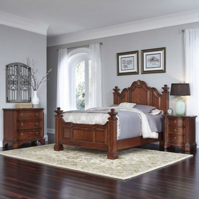 Home Styles Santiago Wood 3-Piece Queen Bed, Night Stand, and Chest Set in Cognac