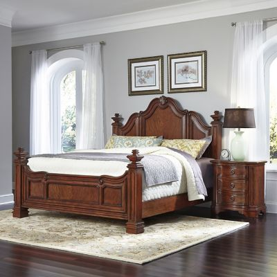 Home Styles Santiago 2-Piece King Bed and Night Stand Set in Cognac