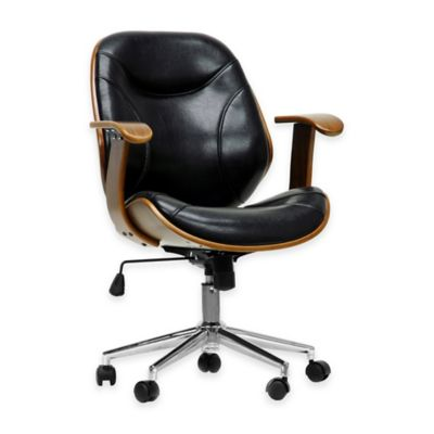 Baxton Studio Rathburn Modern Office Chair in Black/Walnut