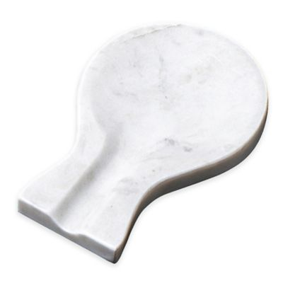 Taj Marble Wide Spoon Rest in White