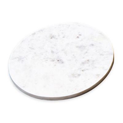 Taj Marble Round Trivet in White