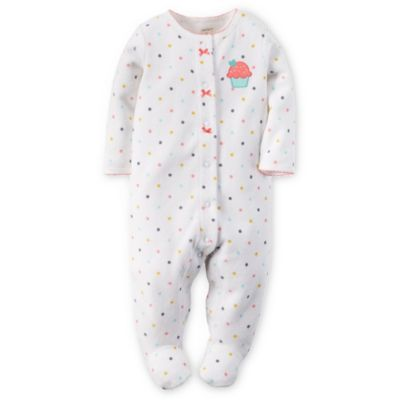 Carter's® Size 6M Snap-Front Terry Cupcake Dot Footie in White/Pink