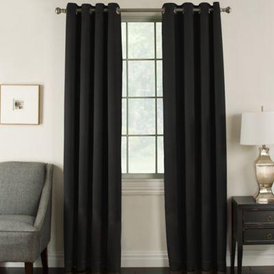 Brinkley 63-Inch Grommet Top Room Darkening Window Curtain Panel in Black