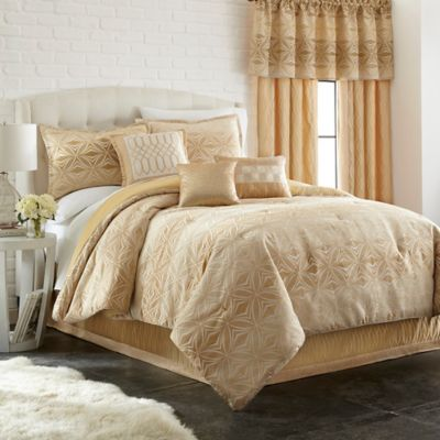 Ecliptic 7-Piece Full Comforter Set in Gold