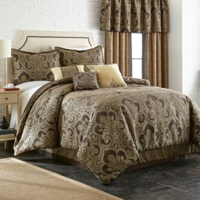 Taj 7-Piece Full Comforter Set in Chocolate