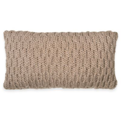 DKNY Loft Stripe Knit Oblong Throw Pillow in Linen