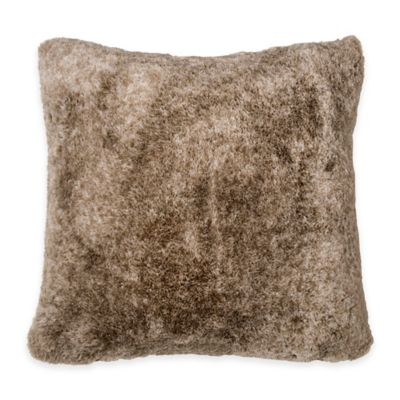 DKNY Loft Stripe Faux-Fur Square Throw Pillow in Linen