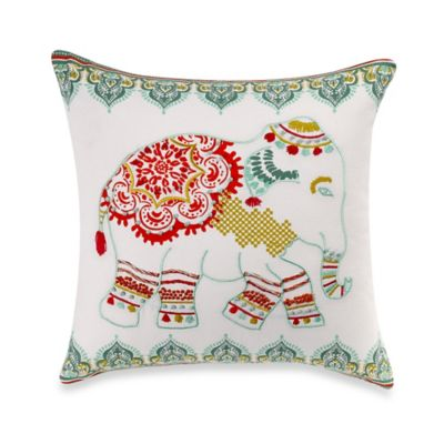 Anthology® Willa Elephant Square Throw Pillow in Coral
