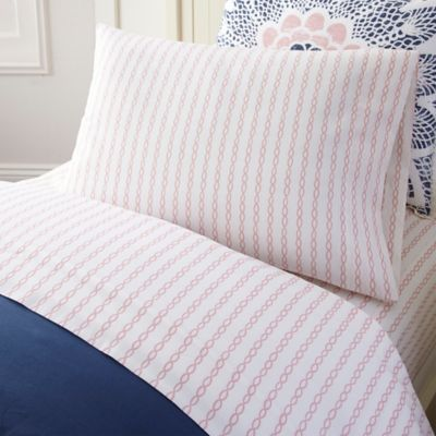 Frank and Lulu Dream Catcher Twist the Line Twin Sheet Set in Pink/White