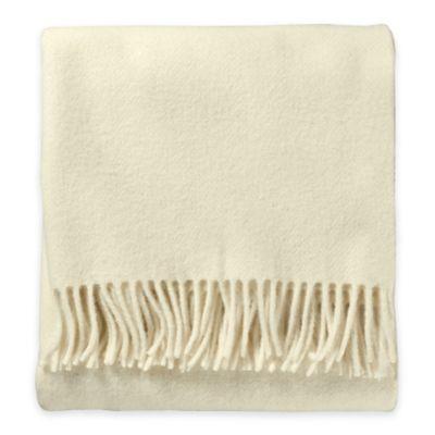 Pendleton® Eco-Wise Wool Fringed Throw Blanket in White
