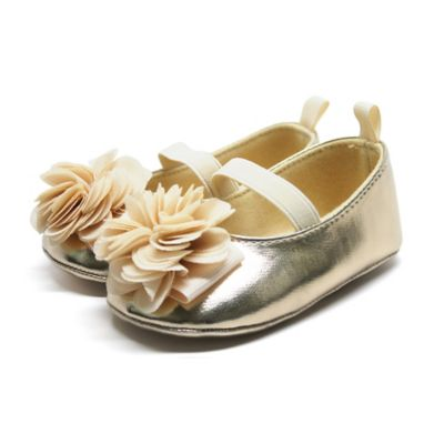 Stepping Stones Size 2 Flower Mary Jane in Gold