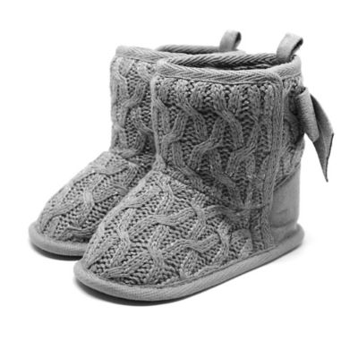 Stepping Stones Size 1 Cable Knit Boot with Bow in Grey