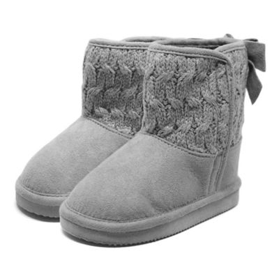 Stepping Stones Size 5 Back Bow Cable Knit Boot in Grey