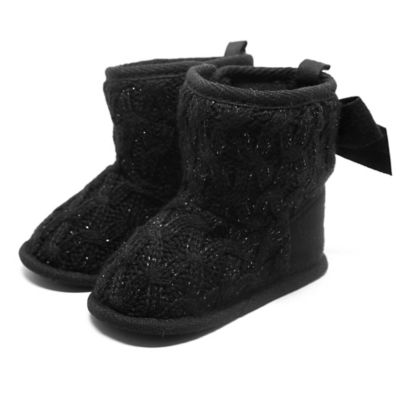 Stepping Stones Size 1 Cable Knit Boot with Bow in Black