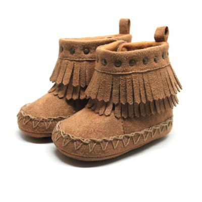 Stepping Stones Size 1 Fringe Moccasin Boot in Tan