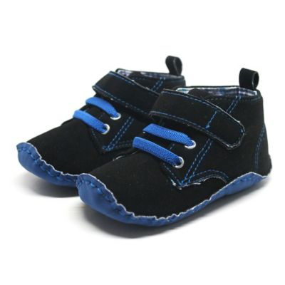 Stepping Stones Size 1 Faux Suede High-Top Crib Shoe in Black