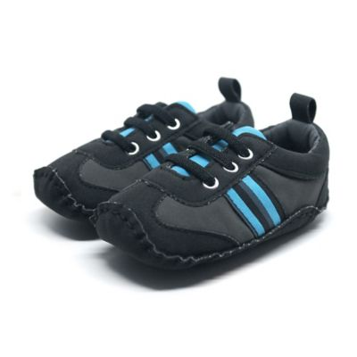 Stepping Stones Size 1 Suede Athletic Sneaker in Black/Blue