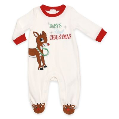 "Size 3M Rudolph ""Baby's First Christmas"" Velour Footie in Ivory"