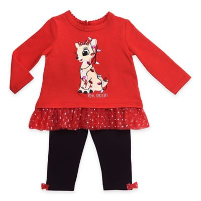 "Size 6M 2-Piece Clarice ""Oh, Deer!"" Long Sleeve Top and Legging Set in Red/Black"