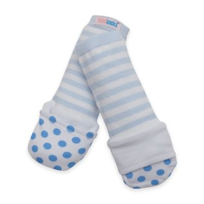Handsocks™ Extra-Small Cotton Outer Fling-Proof Children's Mitten in Blue/White
