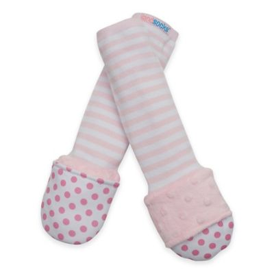 Handsocks™ Extra-Small Polyester Outer Fling-Proof Children's Mitten in Pink/White