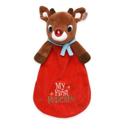 """My First Rudolph"" Plush Security Blanket with Light-Up Nose in Red"
