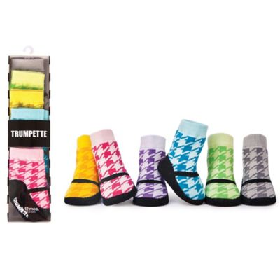 Trumpette Size 0-12M 6-Pack Houndstooth Maryjane Shoe Socks