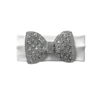 Curls & Pearls Silver Crystal Bow Headwrap in White