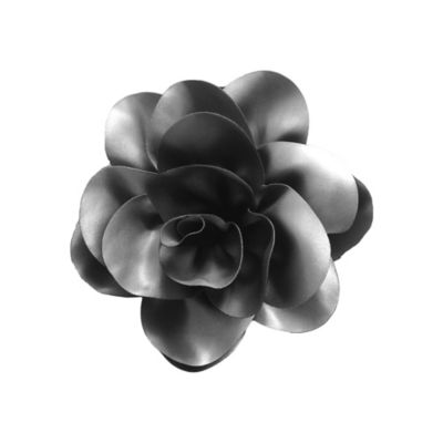 Curls & Pearls Satin Flower Headwrap in Black/Silver