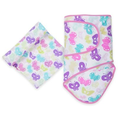 MiracleWare Butterflies Miracle Blanket and Muslin Swaddle Set in Purple/Pink