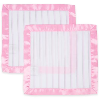 MiracleWare 2-Pack Striped Muslin Security Blanket with Satin Edge in Pink/White