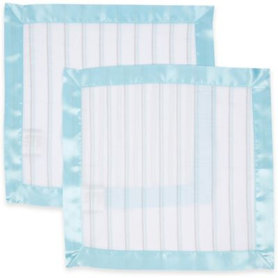 MiracleWare 2-Pack Striped Security Blanket with Satin Edge in Blue/Grey