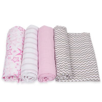 MiracleWare 4-Pack Stars/Stripes/Chevron Muslin Swaddles in Pink/Grey