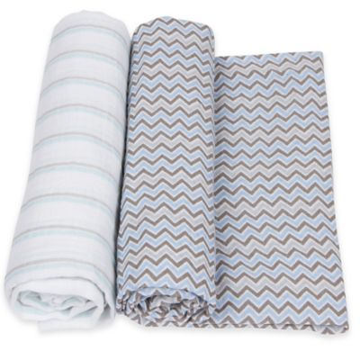 MiracleWare 2-Pack Stripe/Chevron Muslin Swaddles in Blue/Grey