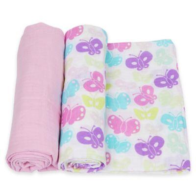 MiracleWare 2-Pack Butterflies Muslin Swaddles in Purple/Pink