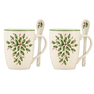 Lenox® Holiday™ Cocoa Mugs with Spoons (Set of 2)