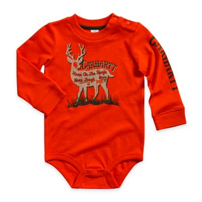 "Carhartt® Size 9M ""Home on the Range"" Deer Long-Sleeve Bodyshirt in Orange"