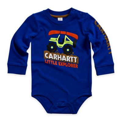 "Carhartt® Size 3M ""Little Explorer"" Long-Sleeve Bodyshirt in Blue"