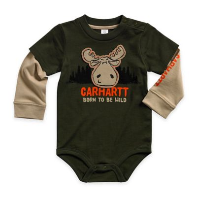 "Carhartt® Size 3M ""Born to Be Wild"" Long-Sleeve Layered Bodyshirt in Green"